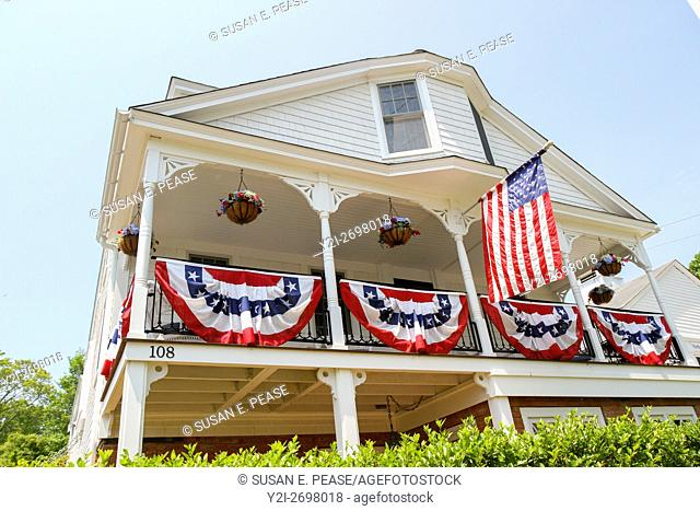 A home decorated for Memorial Day in Vineyard Haven, Martha's Vineyard, Massachusetts, United States, North America. Editorial use only