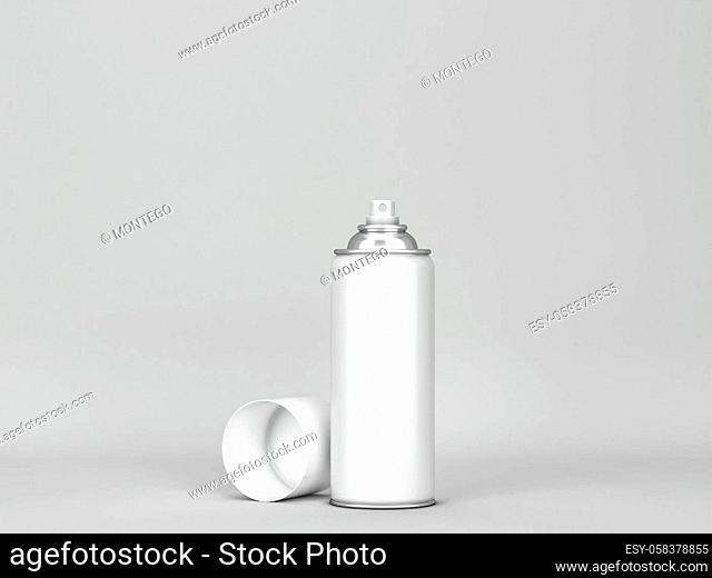 Blank aerosol tube mockup. 3d illustration on gray background