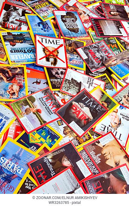 New York - MARCH 7, 2017: US magazines on March 7 in New York, USA. There are over 1000 various magazines published in US