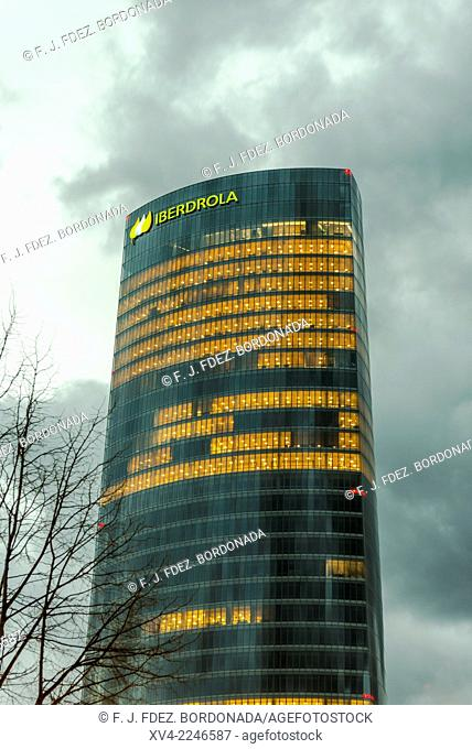 Iberdrola Tower. Bilbao City by Night, Biscay, Basque Country, Spain