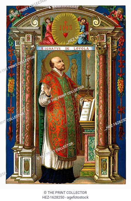 St Ignatius of Loyola, 1886. Inigo Lopez de Loyola (1491-1556) was a Spanish soldier who founded the Society of Jesus together with 6 others at St Mary's Church