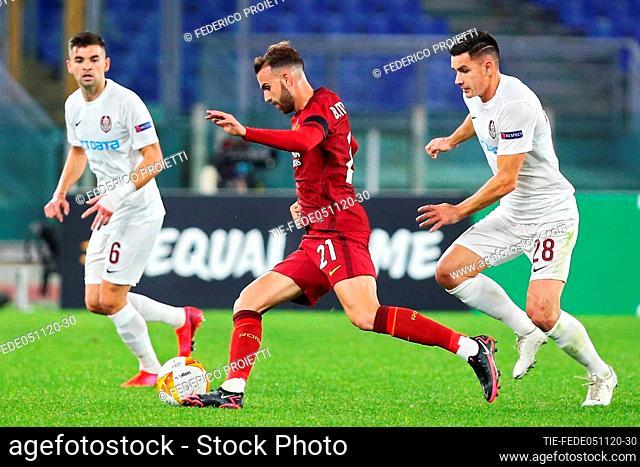 Borja Mayoral (AS Roma) Mateo Susic and Ovidiu Hoban (Cluj) during the match , Rome, ITALY-05-11-2020