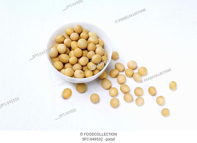 Soya beans in and beside a dish