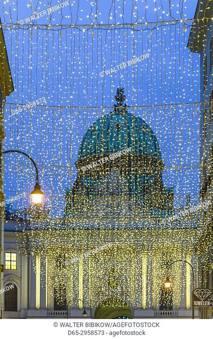 Austria, Vienna, Kohlmarkt, street decorations with view of the Hofburg