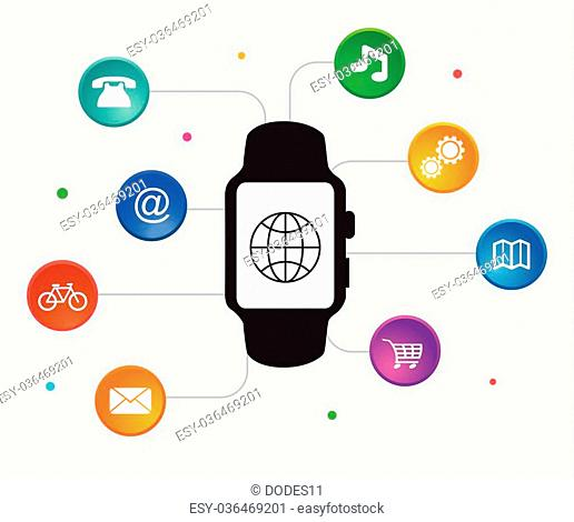 Smart watch vector.New technology electronic device with apps icons