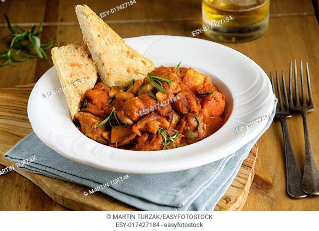 Spiced sausage and cannellini stew with toasted ciabatta