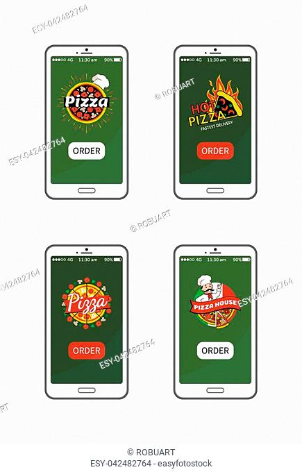 Pizza hot pizzeria collection, application for smartphone users allowing to order food quickly, chef image wearing hat isolated on vector illustration