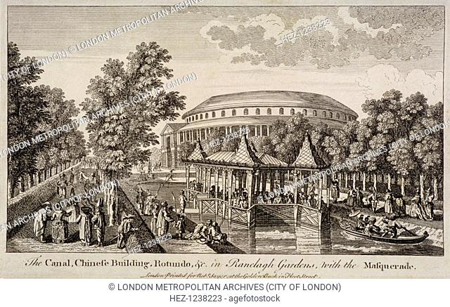 The Chinese Building and Rotunda in Ranelagh Gardens, Chelsea, London, c1750. People stroll in the gardens or ride in boats along the canal