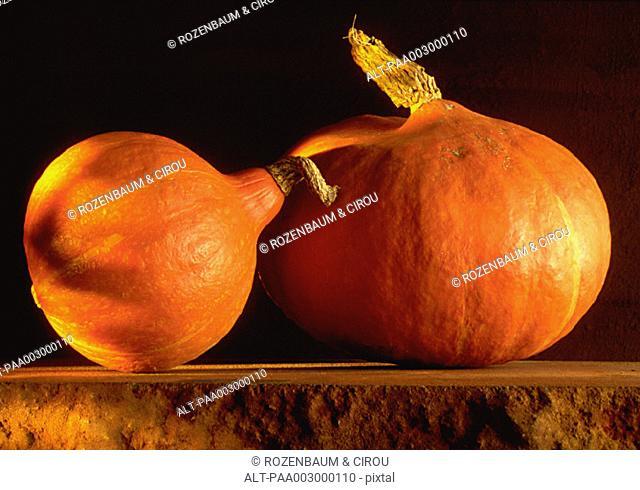 Two pumpkins, still life, close-up