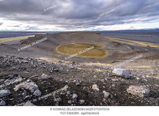 Amphitheatre shaped Hrossaborg crater in northeast part of Iceland