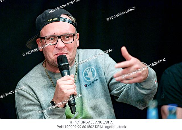 09 September 2019, Hamburg: Lars Lewerenz, music producer, speaks during the press conference of the Alliance #Undivisible