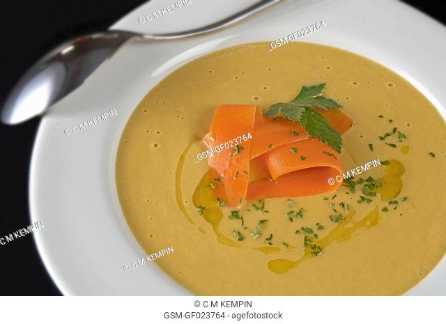 Cream of pumpkin and carrot soup