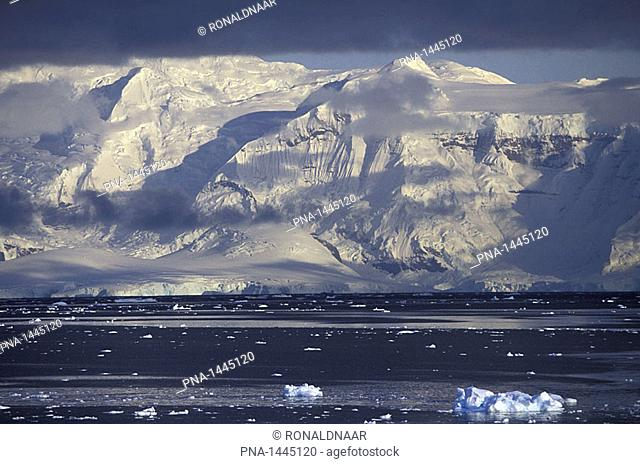 High mountains on Graham Land, above the Southern Ocean, Antarctic Peninsula