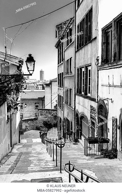 Narrow lane, old town, Lyons, region of Auvergne-Rhône-Alpes, France