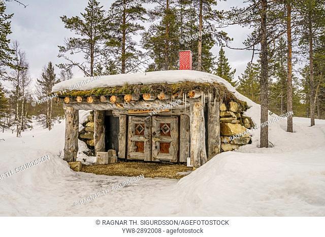 Log cabin, Kakslauttanen, Lapland, Finland