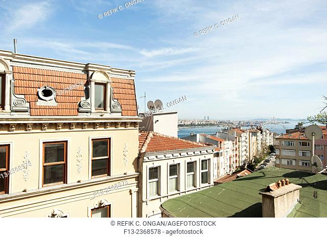 Buildings in Istanbul and at the background islands and Asian side