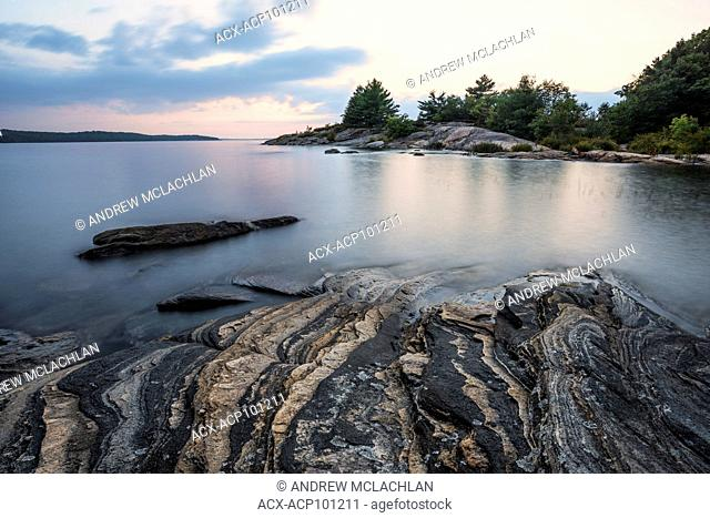 Sunset on Georgian Bay along the Georgian Bay North Shore Rugged Hiking Trail in Parry Sound, Ontario, Canada