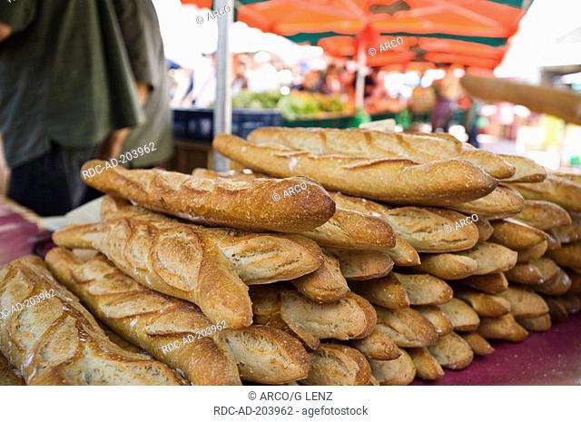Baguettes, market, Place Duburg near Saint Michel, Bordeaux, Aquitaine, France, French loaf, French bread