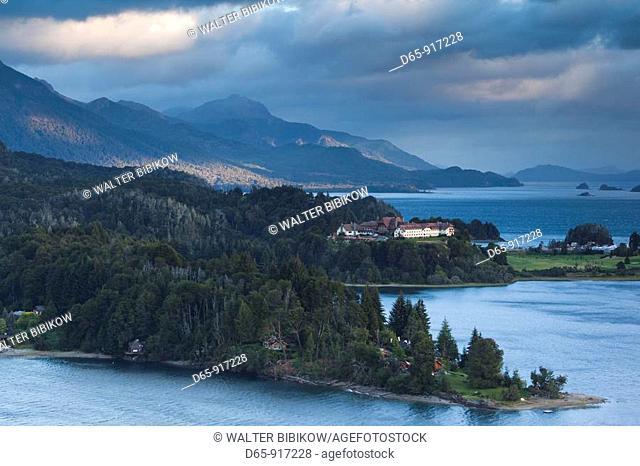 Hotel Llao Llao and Lake Nahuel Huapi at dawn, Llao Llao, Lake District, Rio Negro Province, Argentina