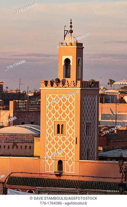 mosque at sunset in the Djemma el Fna in Marrakech, Morocco