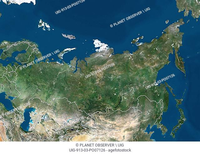 Satellite view of Russia, with neighbouring countries Belarus, Kazakhstan and Mongolia (with country boundaries). This image was compiled from data acquired by...
