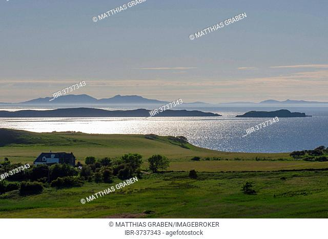 Evening atmosphere with views over Strait Little Minch towards the Outer Hebrides, Stein, Isle of Skye, Inner Hebrides, Scotland, United Kingdom