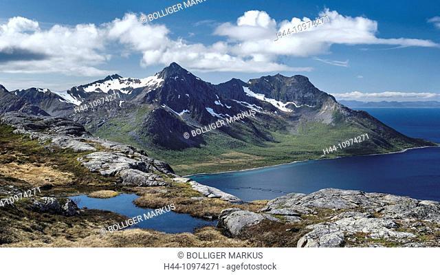 Mountains, mountain range, mountains, mountainous region, rock, summit, peak, glacier grinding, Heia, sky, Kvaenan, scenery, landscape, Norway, Europe, puddle