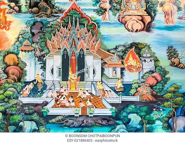 Native Thai Buddhist mural on temple wall, Thailand