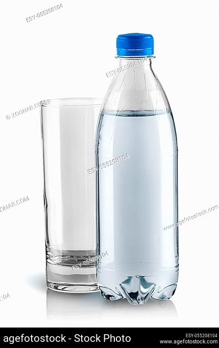 Empty glass and plastic bottle. Closed water bottle. Isolated on white background
