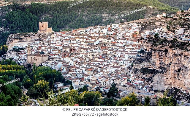 Panoramic view of the city, on top of limestone mountain is situated Castle of the 12TH century Almohad origin, take in Alcala of the Jucar, Albacete province