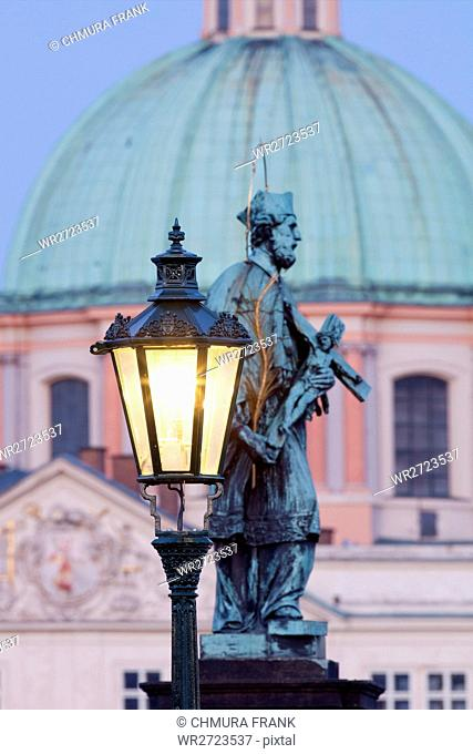 art, bridge, Charles bridge, church, city, Czech republic, dusk, Europe, lantern, old, Prague, praha, religion, religious, statue, tower, travel, spire