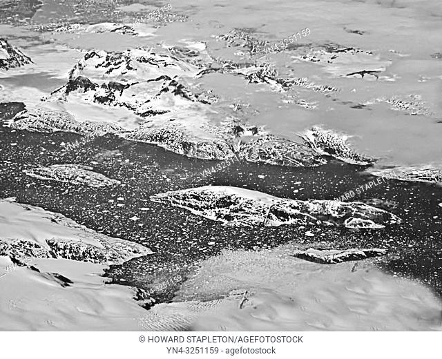A lake in Greenland from 40, 000 feet. Black and White.