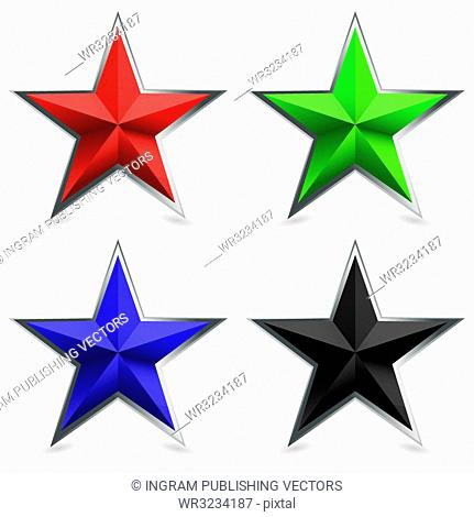 Four star shaped icons with silver metal bevel and shadow