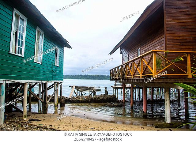 Brown house on high stilts with wrapped around porch, and green house on high stilts. Both houses are flooded and in the water in Bastimentos Island