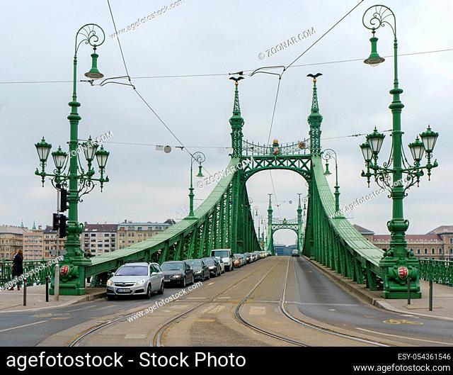 Budapest, Hungary - 24 March, 2018: The Freedom Bridge (Szabadság híd) is on the Danube connecting Buda and Pest. Exceptionally open to pedestrians and...