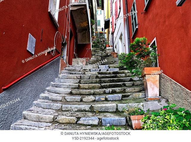 narrow street in Varenna on Lake Como, Province Lecco, Lombardy, Italy