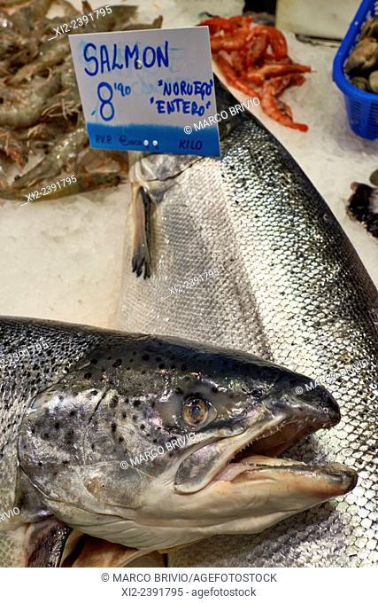 Fresh fish for sale at the Mercat de Sant Josep de la Boqueria, often simply referred to as La Boqueria. It is a large public market in the Ciutat Vella...