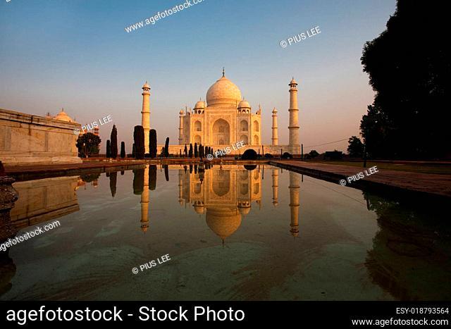 Unique Side Fountain Reflection Taj Mahal Sunrise