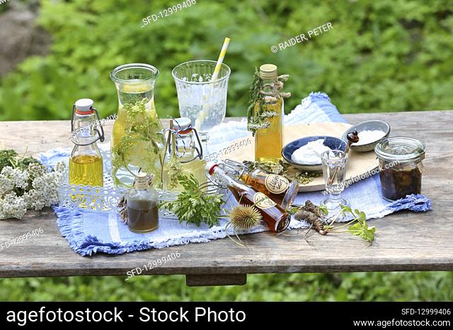Various tinctures, tea and syrup made from medicinal herbs