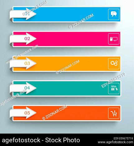 Arrows with banners on the gray background. Eps 10 vector file