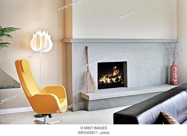 Fireplace in modern livingroom