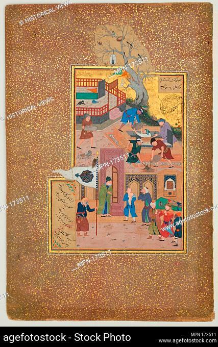 Funeral Procession, Folio 35r from a Mantiq al-tair (Language of the Birds). Calligrapher: Sultan 'Ali al-Mashhadi (active late 15th-early 16th century);...