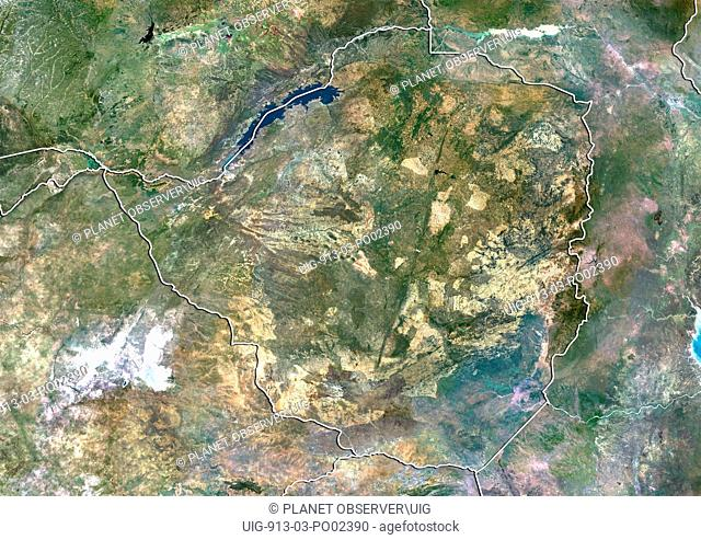 Satellite view of Zimbabwe with border. This image was compiled from data acquired by LANDSAT 5 & 7 satellites