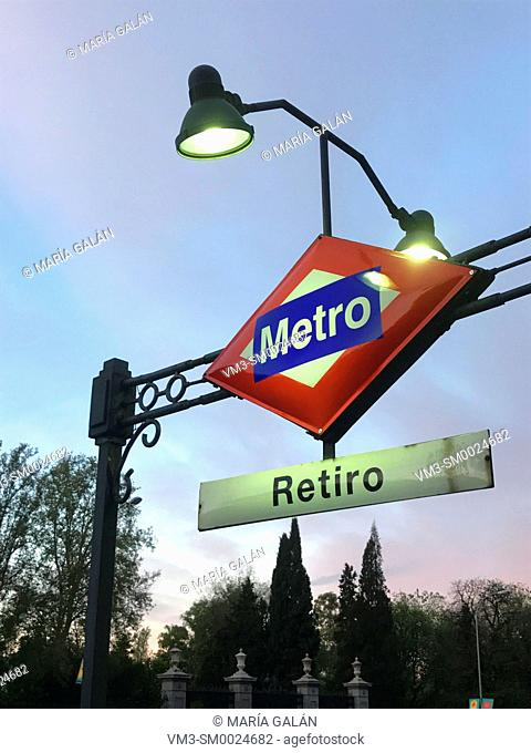 Metro Retiro station, night view. Madrid, Spain
