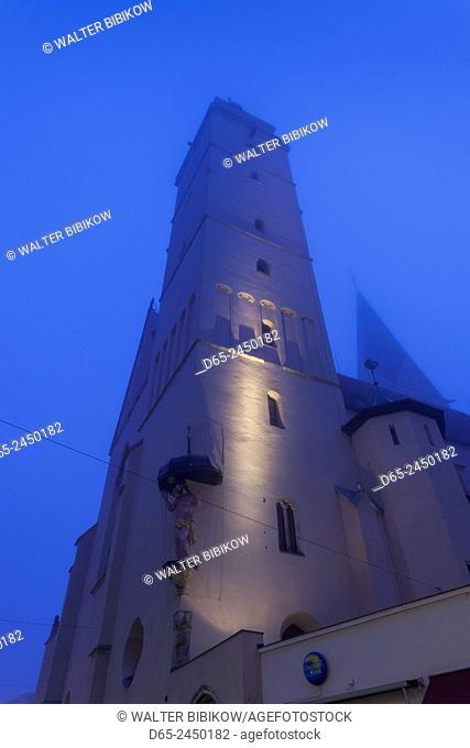 Germany, Bavaria, Ingolstadt, Old Town, Asamkirche Maria de Victoria church, dawn