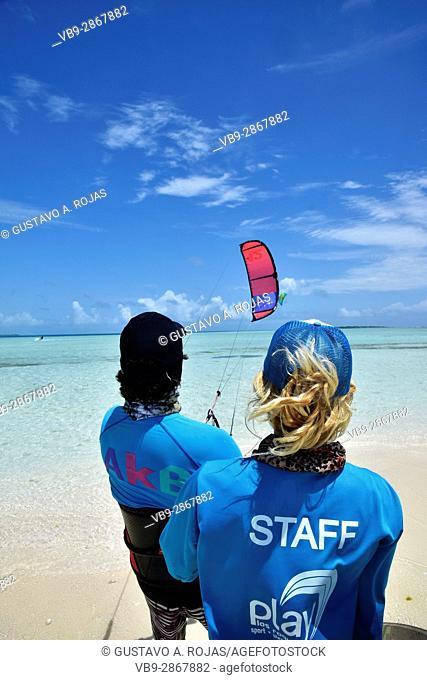 class kitesurf, staff woman and mean, los roques venezuela sebastopol