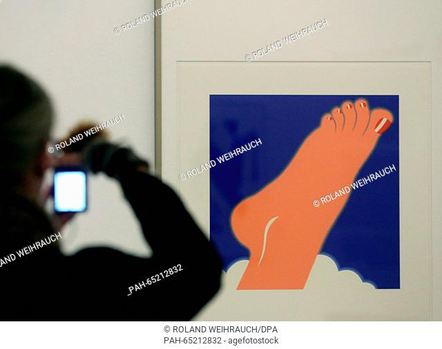 A visitor photographs 'Foot' (1968) by Tom Wesselmann in the Ludwiggalerie Schloss in Oberhausen,Germany, 21 January 2016