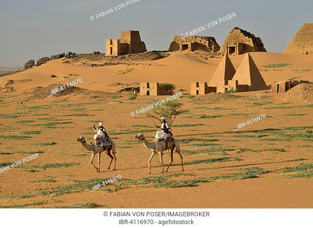 Pyramids of the northern cemetery of Meroe, Black Pharaohs, Nubia, Nahr an-Nil, Sudan
