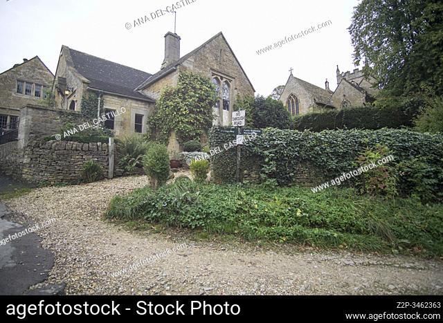 Upper Slaughter village Gloucestershire The Cotswolds England UK on October 12, 2019
