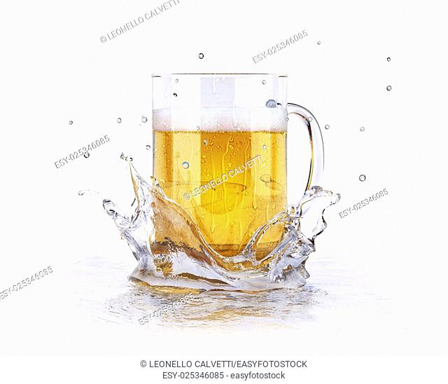 Mug of beer, with condensation droplets, splashing on a water surface, creating a crown splash. On white background